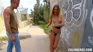 Hot and arousing amateur babe alexis crystal enjoys in taking her clothes off and posing on the street in her black lingerie in front of the camera and having fun