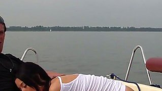 Yacht crazy sex with a horny brunette girl that is all about to get wet from her man