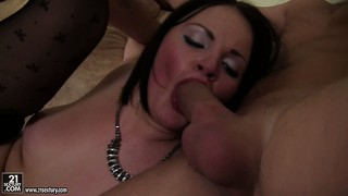 Taking cock in her pussy and ass and sucking them dry is this brunette slut