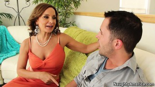 Naughty mom rebecca bardoux seduces a hot young man and blows his boner
