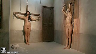 Hot and sensual babe bijou gets tricked, stripped and tied up really good in a room, alongside her lesbian friend ans gets tortured pretty good by a turned on lad