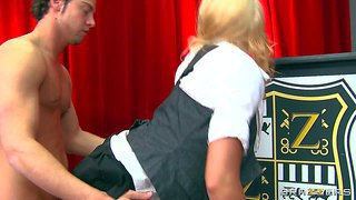 Cute and curly blonde babe leya falcon with her short and naughty school uniform and big boobs revealing out of the shirt gets her shaved taco rammed in various poses by seth gamble