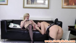 Young brit babes threeway with old sir