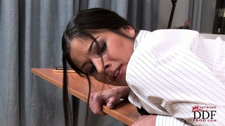 Guilty bitch bends down and gets her lovely ass spanked nicely