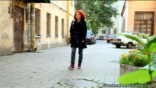Decent girlie with red hair masha has her pussy stimulated and stretched