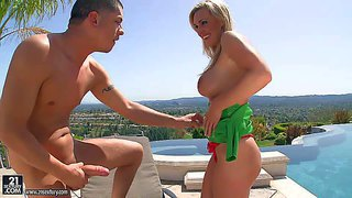 Gorgeous milf blonde tanya tate gets her huge tits sucked by curious gardener by the pool. then she gives blowjob and spreads her legs invitingly. dude licks her sweet experienced pussy in the sun.