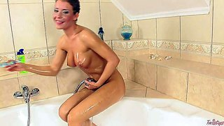Sexy lora craft with juicy boobs and long legs showers her hot body before she fucks herself with dildo. she inserts toy in her trimmed pussy before it comes to ass dildoing. she gives some anal pleasure to herself.