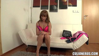 Sweet bella baby in shoes and lingerie shows off her nice butt before she parts her legs and inserts pink dildo in her love hole. watch her drill her sweet hole fro your viewing enjoyment.
