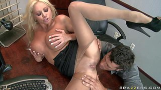 Nikita von james is now the head boss in the company built by ramon. he pays a visit to gorgeous big titted woman. horny guy fucks milf's huge boobs and smooth pussy in her office.