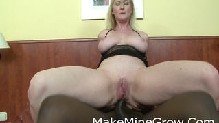 Hot blonde screwed by a black cock in the ass