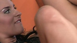 Arousing bettina dicapri is pleased by her new hunk along with her new dildo