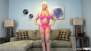 Bridgette b frees her boobs from the confines of her bra and poses