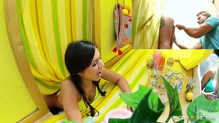 Petite brunette working at a lemonade stand gets fucked hard