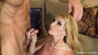 After sucking cock and performing a titjob taylor wane opens up her pussy to be slammed hard