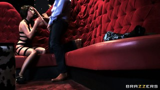 Nasty brunette slut sucks a raging hard cock in the red velvet booth
