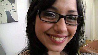 Nomi malone is a sweet black haired girl in glasses. she shows her beautiful smile before she gets her mouth heavily fucked by big cock. rocco siffredi drills her sweet mouth eagerly.
