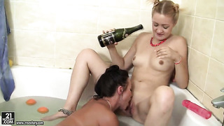 Blonde alysa gap and devora are two lovely lesbians that love pussy rubbing