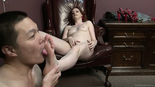 Audrey lords is a naughty redhead babe giving eric jover's dick a hard time by teasing and sucking
