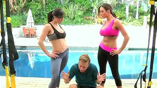 Ariella ferrera and kendra lust sexually scoffing on michael vegas!