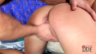 His cock is so hard she takes in deep inside, but her tits make him cum