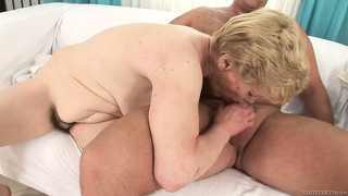 Horny grandma banged hard in her old and hairy pussy by hard dick