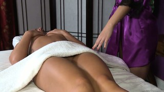 Lesbian girl gets a very special treatment in a massage parlor