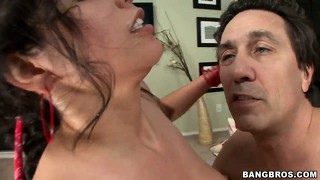 Thick brunette with huge natural tits gets her bushy cunt boned