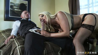 Blonde pornstar seduces a lucky guy that's about to have his cock sucked hard