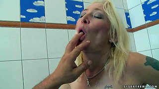 Angeline is s good looking mature blonde with sexy bubble ass. age hot-ass blonde gets on all fours after shower and takes thick hard cock doggy style. watch hot mom get doggystyled.
