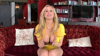 Arousing experienced blonde milf julia ann with huge stunning knockers enjoys sitting on big rubber dildo