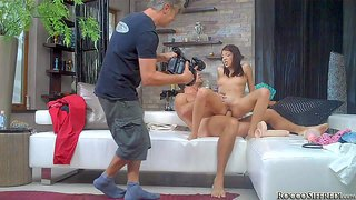 Famous and experienced tanned pornstar rocco siffredi with huge meaty monster cock fucks deep petite brunette babe with natural boobs in missionary and doggy style position to wet loud orgasms