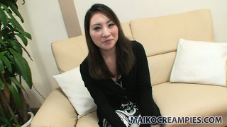 Riho gets comfy on the casting couch then vibes her fuzzy bush