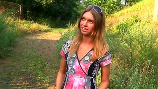 Little molly shows lingerie and gets pounded on the road