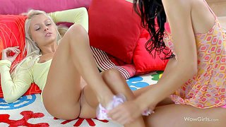 Grace c and livia are two angelic teen girls that touch each others small boobs and tight pussies in lesbian action. blonde spreads her legs and gets fondled by her black haired girlfriend.