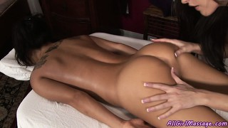 Sweet lesbian massage leads to hot pussy licking and toy play