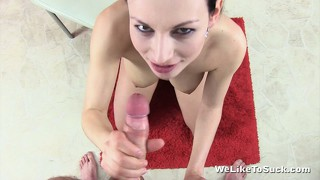 Rough hottie plays with her tits while swallowing a fresh cock
