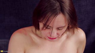Hairy pussy mature fingers herself deeply