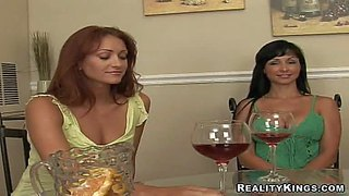 Naughty experienced and seductive lesbian milfs brianna ray and jewels jade with sexy bodies and and pretty face drink some vine with their sexy neighbor and start stripping and making out