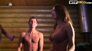 The babes start undressing and showing off their fuckable bodies