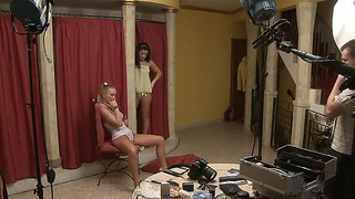 Adorable babes silvia saint and tea jul get ready for casting and to warm up themselves in front of a cam