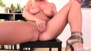Dazzling blonde cougar with big boobs devon lee uses a dildo to satisfy her desires