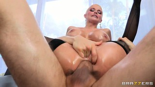 Shaved head and pretty pussy, her ass takes him in all the way