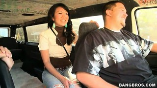 Taking a spin in the bang bus and giving a blowjob, this babe dishes out some asian delight