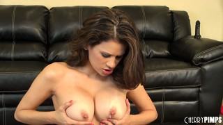 Vanessa veracruz running fingers through her beautiful shaven slit