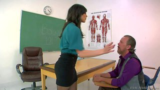 Elegant brunette kendra lust in blouse, skirt and nylons is a strict woman. obedient man bares his ass and gets slapped by hot woman in the classroom. she's a real dominatrix!