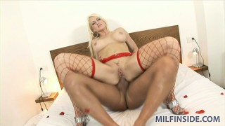 Stacy sits on his dong up her butt and he drills her hard and deep