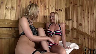 Kathia nobili and sophia knight licking pussies in the sauna