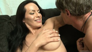 Big-tittied tranny gets her fantastic ass licked and lubricated