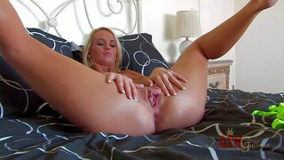 Emily austin is a pretty blonde with juicy tits and smooth pussy. she parts her legs and inserts pink dildo in her love box. she takes sex toy so fucking deep in her vagina. watch emily austin masturbate!
