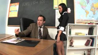 Kinky student fucking her teacher